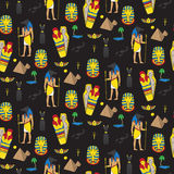 Seamless pattern with egyptean elements such as anubis, mummy Royalty Free Stock Images