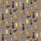 Seamless pattern with egyptean elements such as cats, sphinx Stock Photography