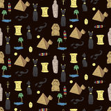 Seamless pattern with egyptean elements such as cats, sphinx Royalty Free Stock Images