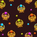 Seamless pattern Egyptian scarab symbol with colored precious gems, golden icon. Vector Seamless pattern Egyptian scarab symbol of Horus with colored precious royalty free illustration