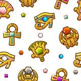 Seamless pattern Egyptian symbols with colored precious gems. Golden icon royalty free illustration
