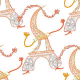 Seamless pattern The Eiffel Tower in cartoon style  vector illus Royalty Free Stock Photography