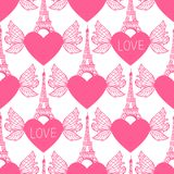 Seamless pattern. Eiffel Tower hand drawing and hearts with wings. Vector illustration is isolated on white background. Seamless pattern. Hand drawing Eiffel Royalty Free Stock Photos