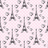 Seamless pattern Eiffel Tower with hearts Royalty Free Stock Photos