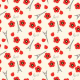 Seamless pattern. Eiffel tower and red poppies, Paris, France. Vector background Stock Images