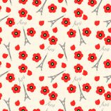 Seamless pattern. Eiffel tower and red poppies, Paris, France. Vector background Stock Image