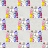 Seamless pattern eith watercolor Amsterdam houses Stock Photos