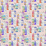 Seamless pattern eith watercolor Amsterdam houses Stock Photography