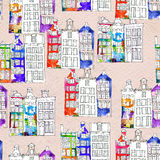 Seamless pattern eith watercolor Amsterdam houses Royalty Free Stock Image