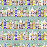 Seamless pattern eith watercolor Amsterdam houses Royalty Free Stock Photography