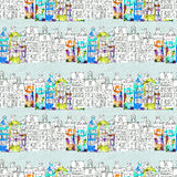 Seamless pattern eith watercolor Amsterdam houses Stock Photo