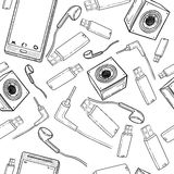 Seamless pattern of electronic gadget Stock Images