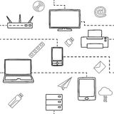 Seamless pattern of electronic gadgets for the media and the internet in white. Vector illustration Stock Photo