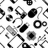 Seamless pattern with electronics. Black icons of computer technology on a white background. Vector illustration Royalty Free Stock Photography