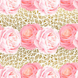 Seamless pattern with elegance color pink roses. Seamless pattern with elegance color pink roses and light gold texture. Natural floral background Stock Images
