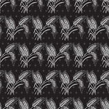 Seamless pattern. Elegant seamless pattern in black silver colors with decorative wheat, design elements. Floral pattern for invitations, greeting cards Royalty Free Stock Photography