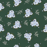 Seamless  pattern with elegant blue roses. Floral background  with  rose bouquet stock illustration