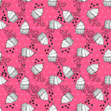 Seamless pattern. Elegant seamless pattern with hand drawn cupcakes with hearts, design elements. Can be used for valentines day, wedding invitations, greeting Royalty Free Stock Images