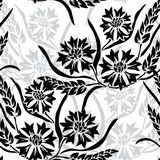 Seamless pattern. Elegant seamless pattern with hand drawn decorative cornflowers and wheat, design elements. Floral pattern for wedding invitations, greeting Stock Images