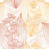 Seamless pattern. Elegant seamless pattern with hand drawn decorative lily of the valley flowers, design elements. Floral pattern for wedding invitations Royalty Free Stock Image