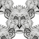 Seamless pattern. Elegant seamless pattern with hand drawn decorative monkeys, design elements. Can be used for invitations, greeting cards, scrapbooking, print Stock Images