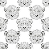 Seamless pattern. Elegant seamless pattern with hand drawn decorative monkeys, design elements. Can be used for invitations, greeting cards, scrapbooking, print Royalty Free Stock Image