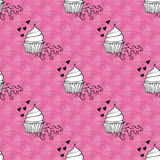 Seamless pattern. Elegant seamless pattern with hand drawn decorative sweet cupcakes, design elements. Can be used for valentines day, wedding invitations Stock Images