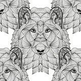 Seamless pattern. Elegant seamless pattern with hand drawn decorative wolves, design elements. Can be used for invitations, greeting cards, scrapbooking, print Stock Photography