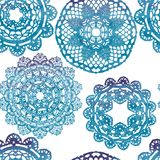Seamless pattern. Elegant lacy watercolor doilies. Stock Image