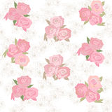 Seamless pattern with elegant pink roses. Floral background with rose bouquet stock illustration