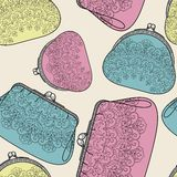Seamless pattern with elegant purse. Royalty Free Stock Image