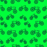 Seamless pattern with elements of bicycles. Over green background Royalty Free Stock Image