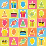 Seamless pattern with elements of birthday party Stock Photos
