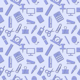 Seamless pattern with elements of blue office supplies over light blue background Royalty Free Stock Photography