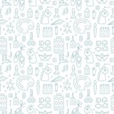 Seamless pattern with elements for kids creative lessons in linear style vector illustration