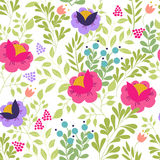 Seamless pattern with elements of meadow flowers, foliage, herbs on a white background. Vector illustration. Stock Photo