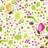 Seamless pattern with elements of a meadow. Seamless pattern with elements of the meadow: flowers, grass, butterfly, bees, caterpillars Royalty Free Stock Photography