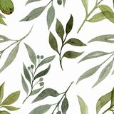 Seamless pattern with elements of plants. Watercolour illustration of hand painted. Cute design for wallpaper, textile, fabric stock photo