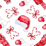 Seamless pattern with elements red hat, scarf, mittens vector illustration