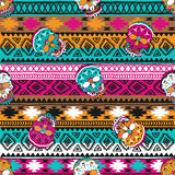 Seamless pattern with elements of the skull. Boho ethnic bands. tribal style design. Stock Photos