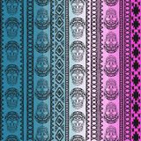 Seamless pattern with elements of the skull. Boho ethnic bands. tribal style design. Royalty Free Stock Images