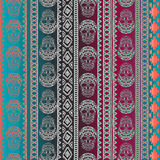 Seamless pattern with elements of the skull. Boho ethnic bands. tribal style design. Stock Images