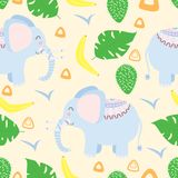 Seamless pattern with elephant in Scandinavian style - vector illustration, eps stock illustration