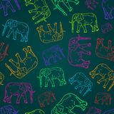 Seamless Pattern with  Elephant Silhouettes Stock Photo