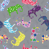 Seamless pattern with elephants Stock Photo