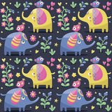 Seamless pattern with elephants, birds, plants, jungle, flowers, hearts, berry. Seamless cute pattern made with elephants, birds, plants, jungle, flowers, hearts royalty free illustration