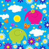 Seamless pattern with elephants and butterflies Royalty Free Stock Photo