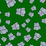 Seamless pattern of elephants in cartoon style vector illustration