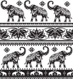 Seamless pattern with elephants. Seamless pattern with decorated elephants and lotus flower stock photography