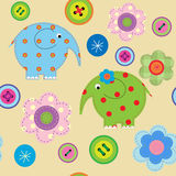 Seamless pattern with elephants and flowers Stock Photo